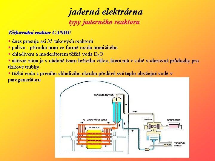 jaderná elektrárna typy jaderného reaktoru Těžkovodní reaktor CANDU § dnes pracuje asi 35 takových