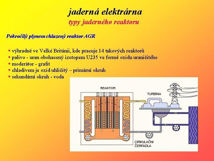 jaderná elektrárna typy jaderného reaktoru Pokročilý plynem chlazený reaktor AGR § výhradně ve Velké