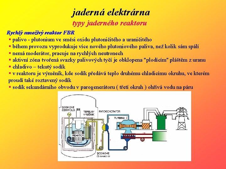 jaderná elektrárna typy jaderného reaktoru Rychlý množivý reaktor FBR § palivo - plutonium ve