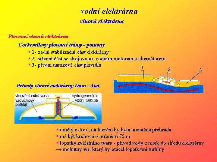 vodní elektrárna vlnová elektrárna Plovoucí vlnová elektrárna Cockerellovy plovoucí trámy - pontony § 1