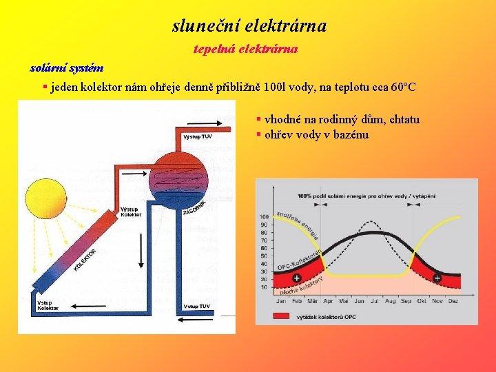 sluneční elektrárna tepelná elektrárna solární systém § jeden kolektor nám ohřeje denně přibližně 100