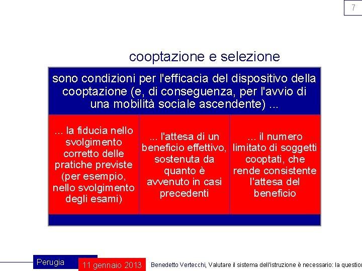 7 cooptazione e selezione sono condizioni per l'efficacia del dispositivo della cooptazione (e, di