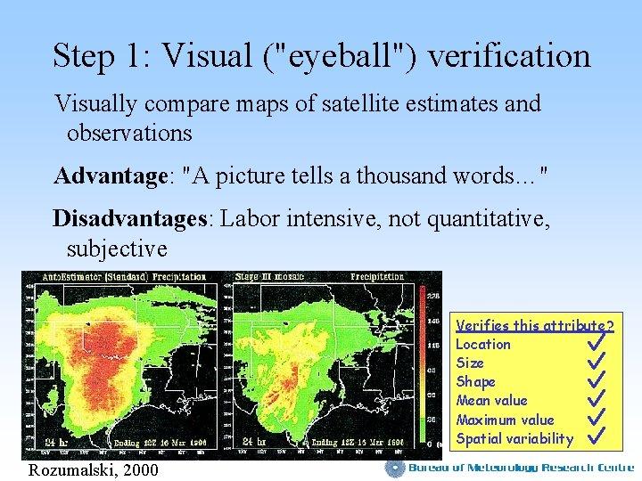 "Step 1: Visual (""eyeball"") verification Visually compare maps of satellite estimates and observations Advantage:"