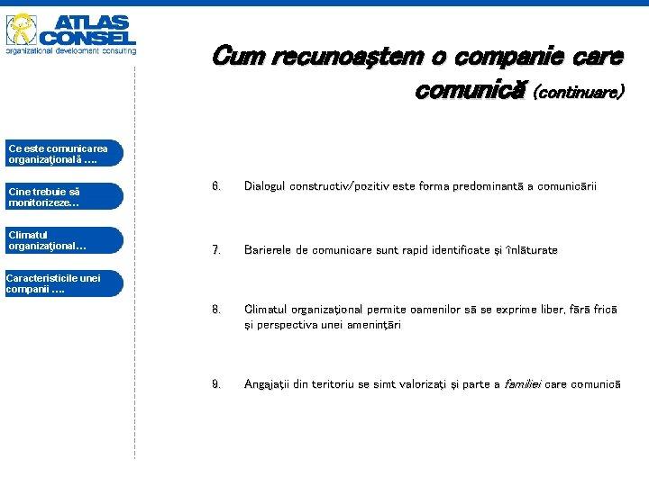 Cum recunoaştem o companie care comunică (continuare) Ce este comunicarea organizaţională …. Cine trebuie