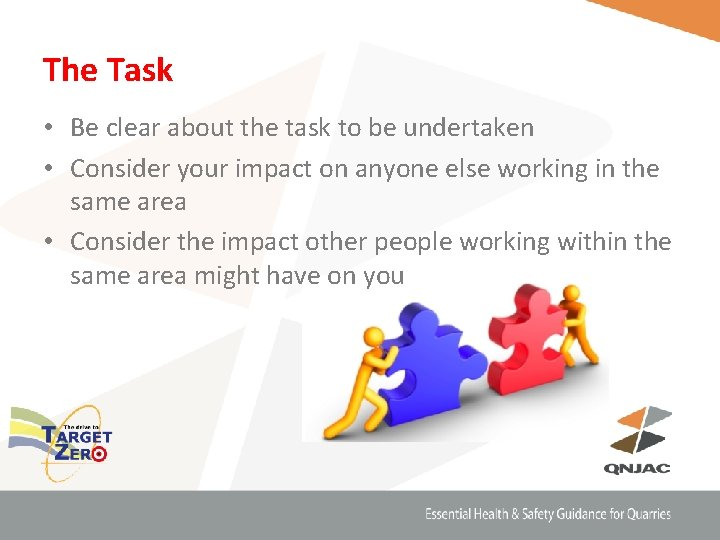 The Task • Be clear about the task to be undertaken • Consider your