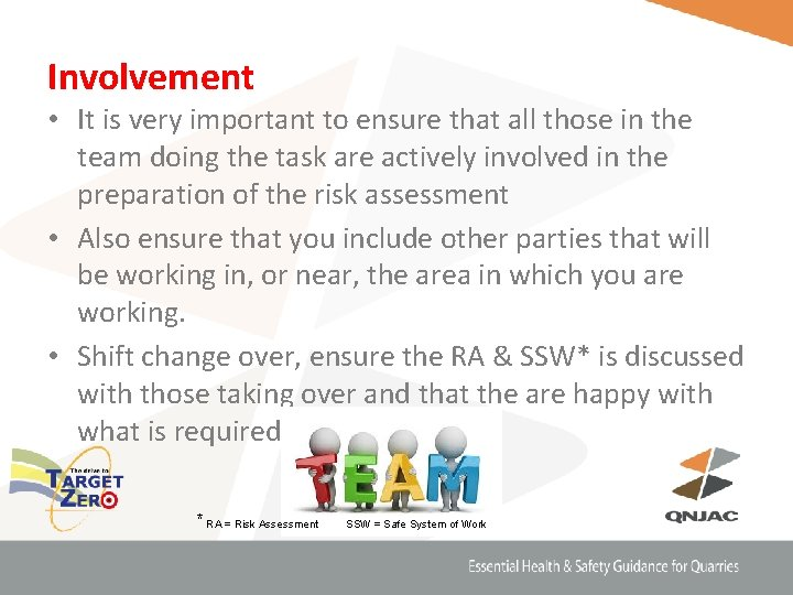 Involvement • It is very important to ensure that all those in the team