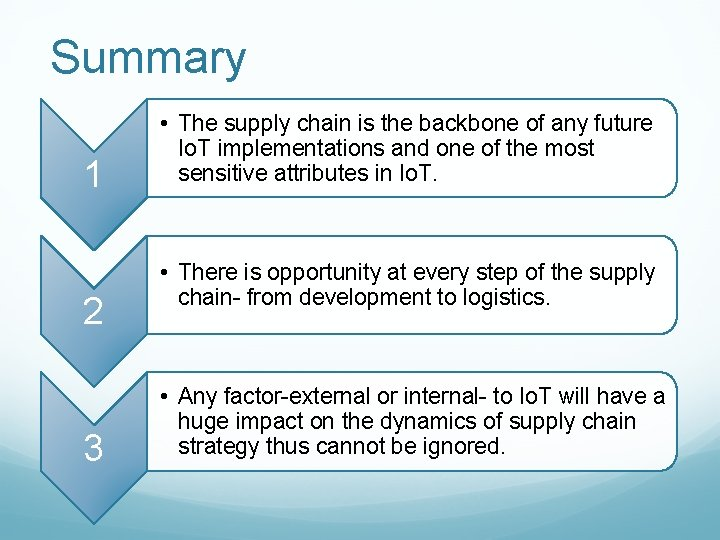 Summary 1 2 3 • The supply chain is the backbone of any future