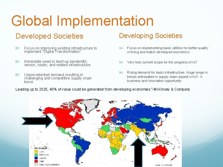 """Global Implementation Developed Societies Developing Societies Focus on improving existing infrastructure to implement """"Digital"""