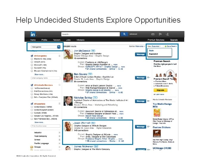 Help Undecided Students Explore Opportunities © 2013 Linked. In Corporation. All Rights Reserved.