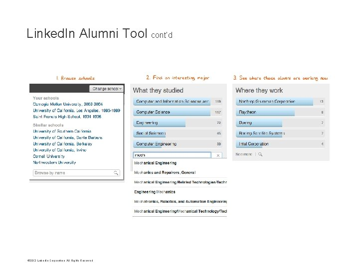 Linked. In Alumni Tool cont'd © 2013 Linked. In Corporation. All Rights Reserved.