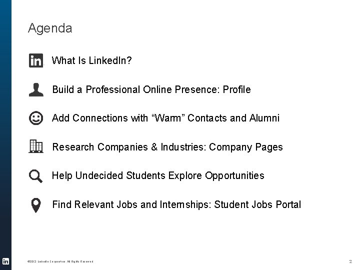 Agenda What Is Linked. In? Build a Professional Online Presence: Profile Add Connections with