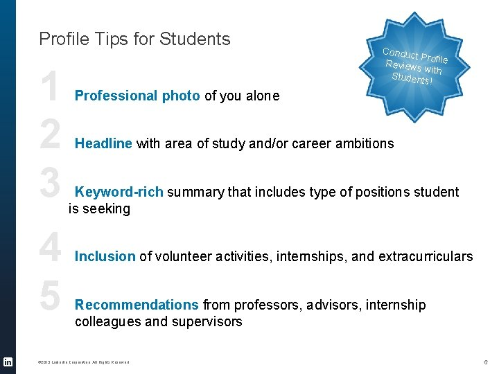 Profile Tips for Students 1 2 3 4 5 Conduc t Pro Reviews file