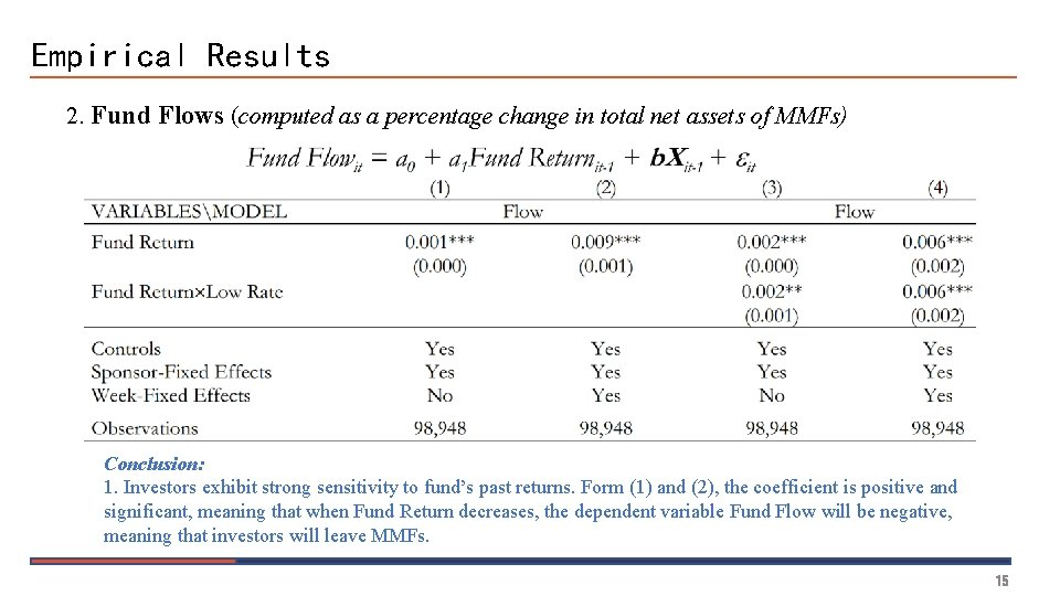 Empirical Results 2. Fund Flows (computed as a percentage change in total net assets