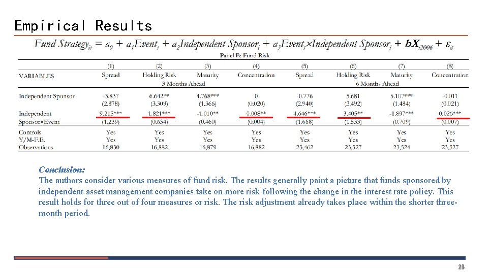 Empirical Results Conclusion: The authors consider various measures of fund risk. The results generally