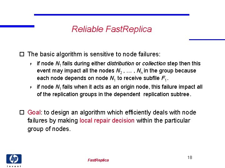 Reliable Fast. Replica o The basic algorithm is sensitive to node failures: H H