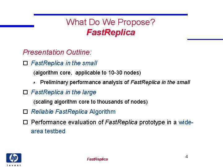What Do We Propose? Fast. Replica Presentation Outline: o Fast. Replica in the small