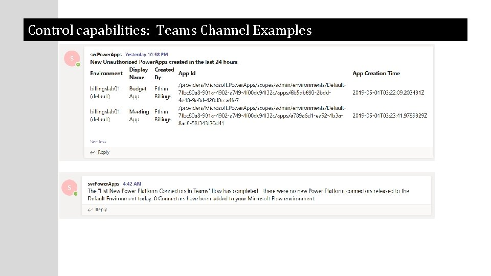 Control capabilities: Teams Channel Examples