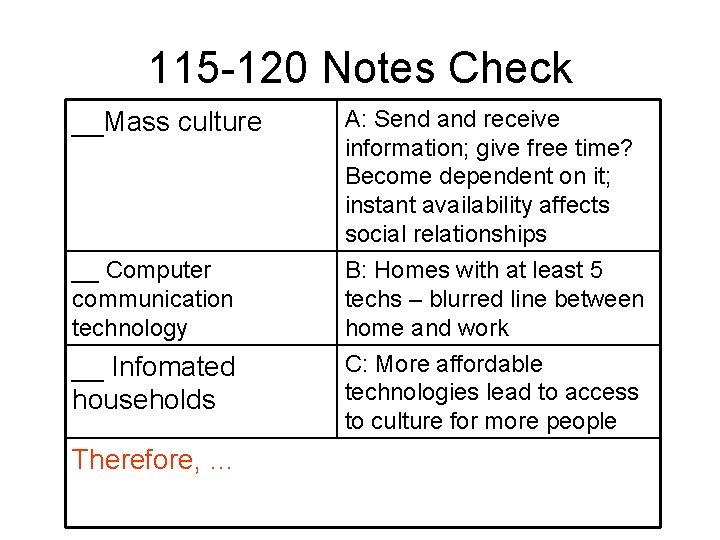 115 -120 Notes Check __Mass culture A: Send and receive information; give free time?