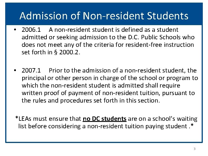 Admission of Non-resident Students • 2006. 1 A non-resident student is defined as a