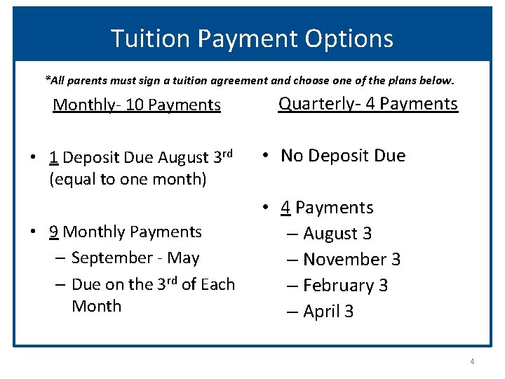 Tuition Payment Options *All parents must sign a tuition agreement and choose one of