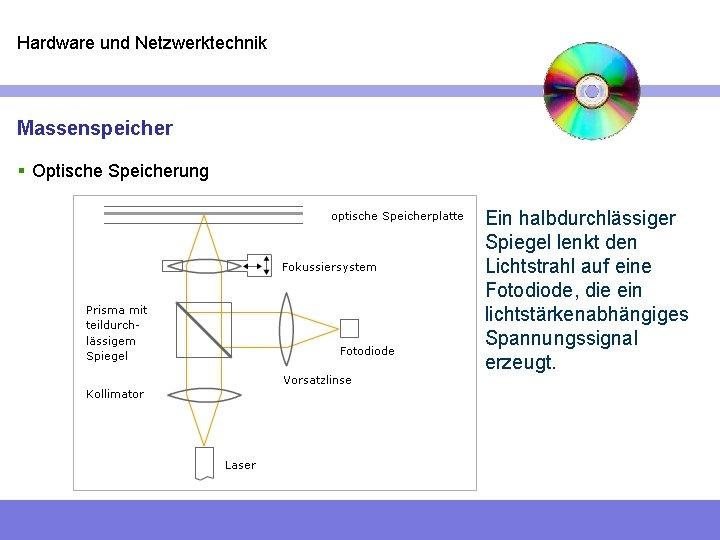 Hardware und Netzwerktechnik Massenspeicher § Optische Speicherung Ein halbdurchlässiger Spiegel lenkt den Lichtstrahl auf