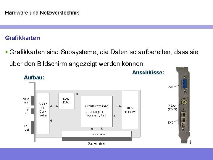 Hardware und Netzwerktechnik Grafikkarten § Grafikkarten sind Subsysteme, die Daten so aufbereiten, dass sie