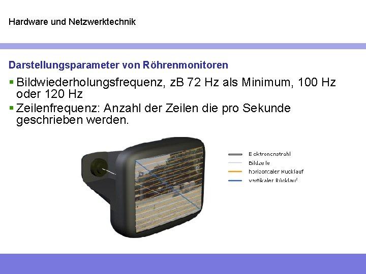 Hardware und Netzwerktechnik Darstellungsparameter von Röhrenmonitoren § Bildwiederholungsfrequenz, z. B 72 Hz als Minimum,