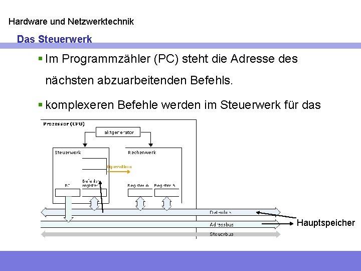Hardware und Netzwerktechnik Das Steuerwerk § Im Programmzähler (PC) steht die Adresse des nächsten