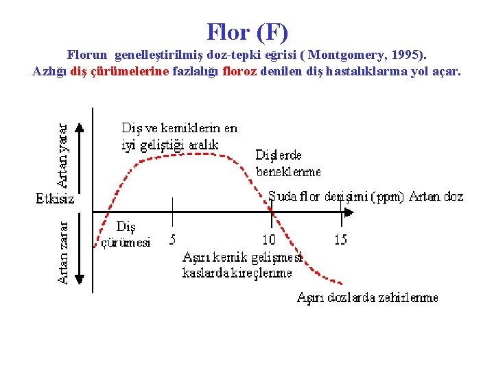 Flor (F) Florun genelleştirilmiş doz-tepki eğrisi ( Montgomery, 1995). Azlığı diş çürümelerine fazlalığı floroz