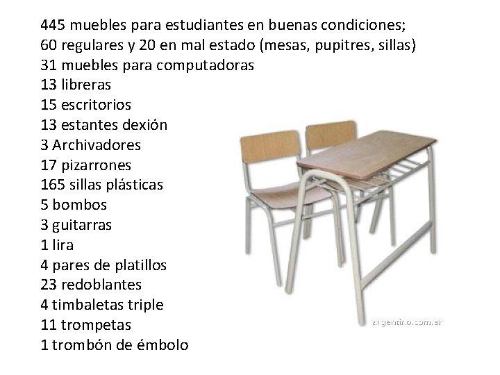 445 muebles para estudiantes en buenas condiciones; 60 regulares y 20 en mal estado