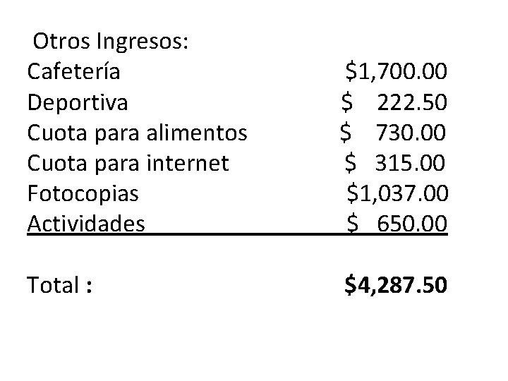 Otros Ingresos: Cafetería Deportiva Cuota para alimentos Cuota para internet Fotocopias Actividades $1, 700.