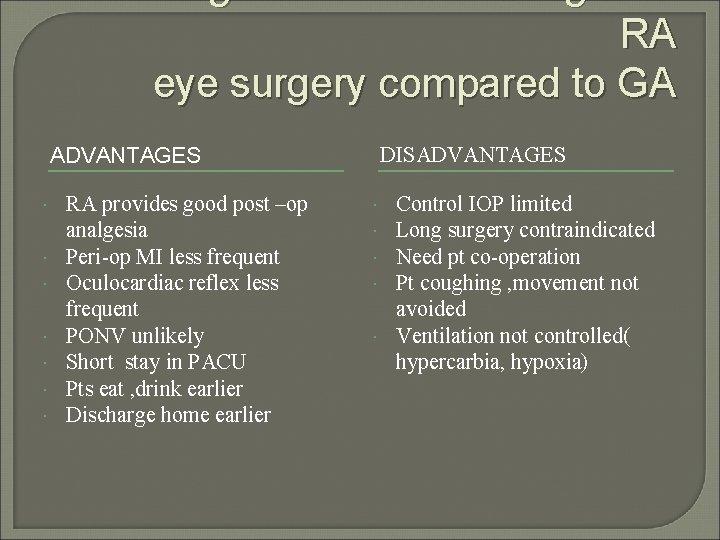 Advantages and disadvantages of RA eye surgery compared to GA ADVANTAGES RA provides good