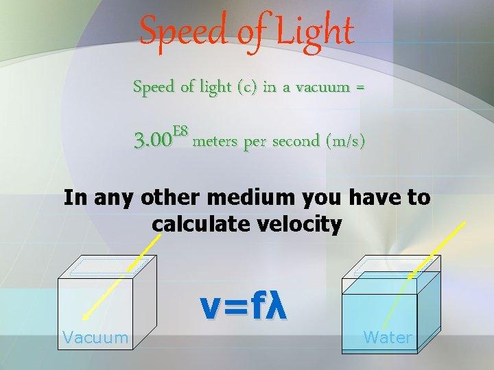 Speed of Light Speed of light (c) in a vacuum = E 8 3.