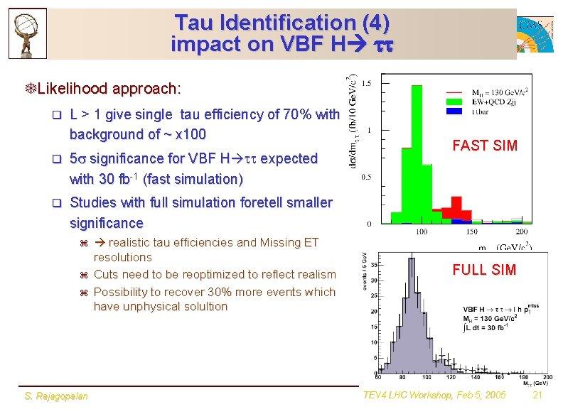 Tau Identification (4) impact on VBF H tt TLikelihood approach: q L > 1