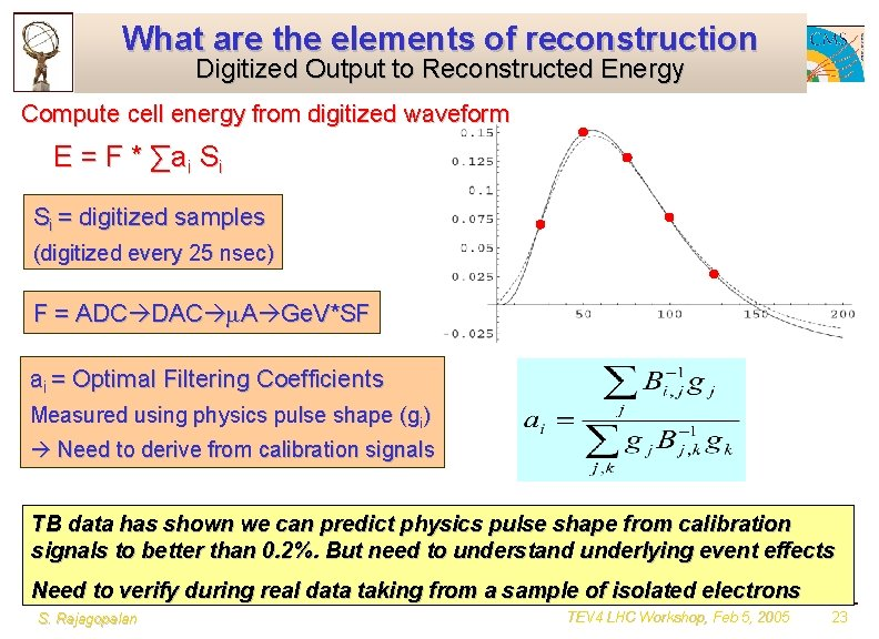 What are the elements of reconstruction Digitized Output to Reconstructed Energy Compute cell energy