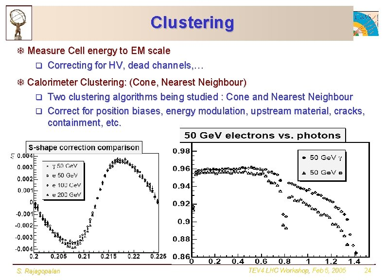 Clustering T Measure Cell energy to EM scale q Correcting for HV, dead channels,