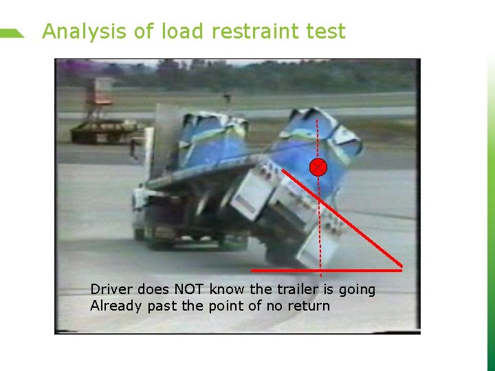 Analysis of load restraint test Driver does NOT know the trailer is going Already