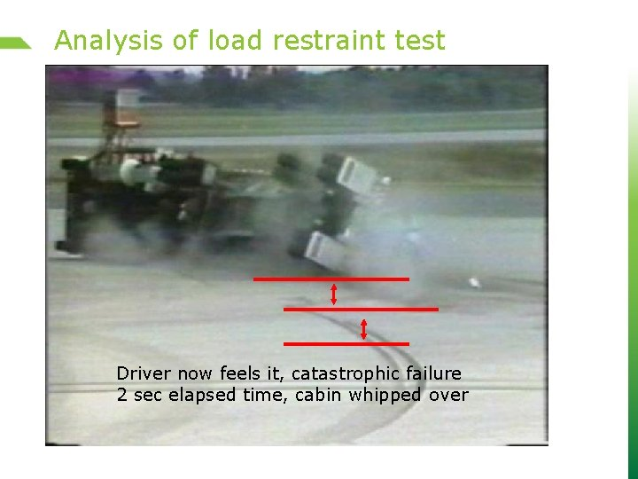 Analysis of load restraint test Driver now feels it, catastrophic failure 2 sec elapsed