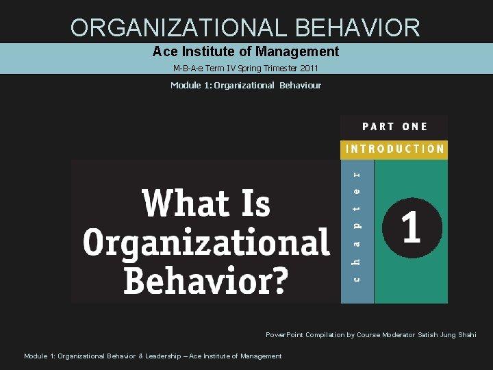 ORGANIZATIONAL BEHAVIOR Ace Institute of Management M-B-A-e Term IV Spring Trimester 2011 Module 1: