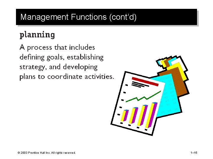 Management Functions (cont'd) © 2003 Prentice Hall Inc. All rights reserved. 1– 15