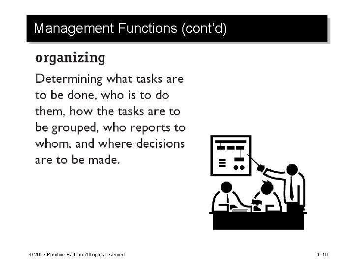 Management Functions (cont'd) © 2003 Prentice Hall Inc. All rights reserved. 1– 16
