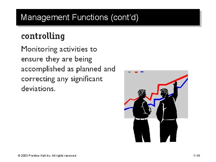 Management Functions (cont'd) © 2003 Prentice Hall Inc. All rights reserved. 1– 18