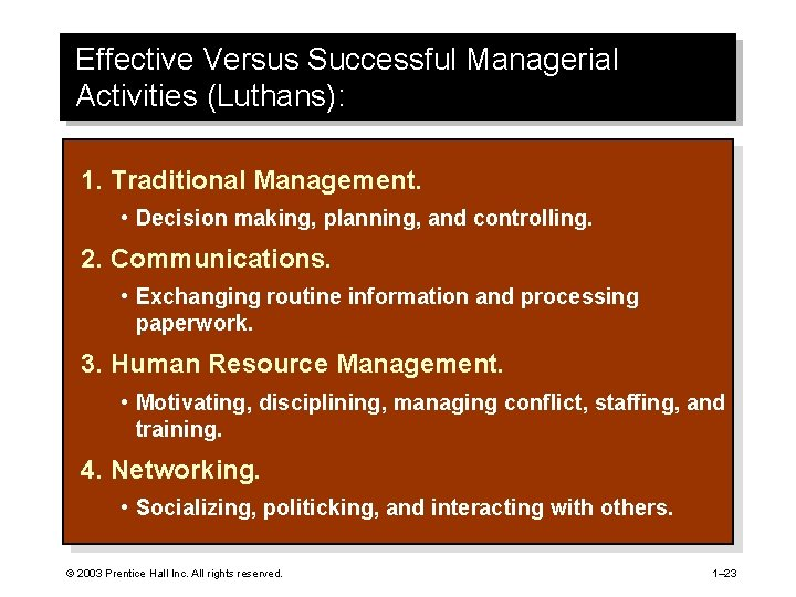 Effective Versus Successful Managerial Activities (Luthans): 1. Traditional Management. • Decision making, planning, and
