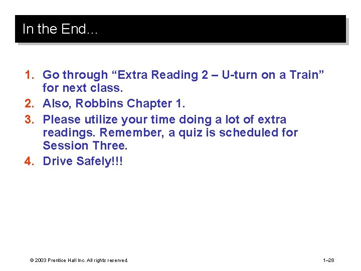 """In the End… 1. Go through """"Extra Reading 2 – U-turn on a Train"""""""