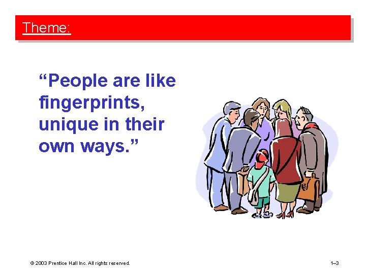 """Theme: """"People are like fingerprints, unique in their own ways. """" © 2003 Prentice"""