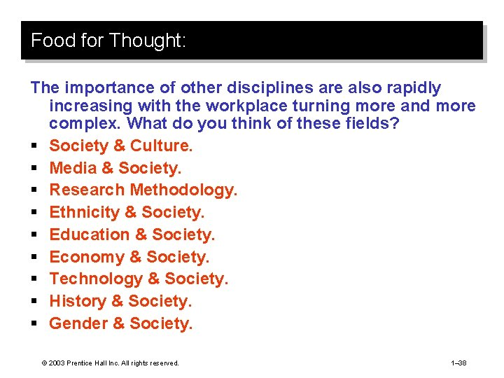 Food for Thought: The importance of other disciplines are also rapidly increasing with the