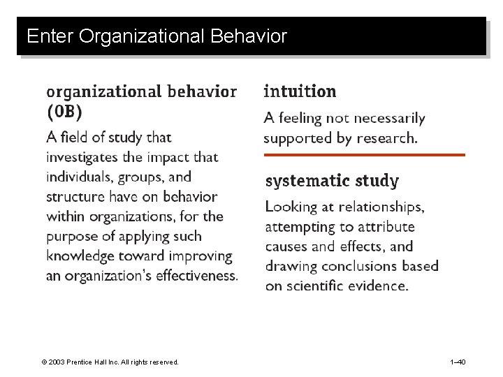 Enter Organizational Behavior © 2003 Prentice Hall Inc. All rights reserved. 1– 40