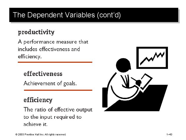 The Dependent Variables (cont'd) © 2003 Prentice Hall Inc. All rights reserved. 1– 43