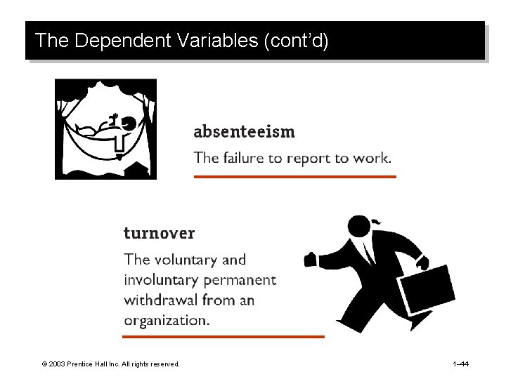 The Dependent Variables (cont'd) © 2003 Prentice Hall Inc. All rights reserved. 1– 44
