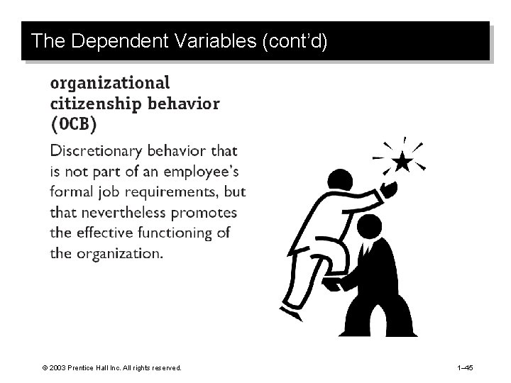 The Dependent Variables (cont'd) © 2003 Prentice Hall Inc. All rights reserved. 1– 45